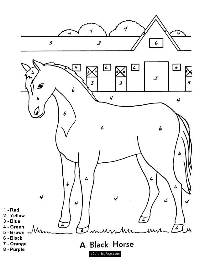 Color By Numbers Horse And Stable Coloring Pages For Kids Printable Horse Coloring Pages Horse Coloring Color By Numbers