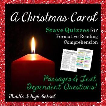 A Christmas Carol: Stave Quizzes with Text-Dependent Questions | Text dependent questions ...