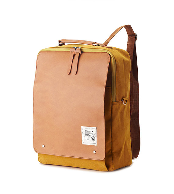 New+Square+Backpack+Mustard+by+BagDoRi+on+Etsy,+$79.50