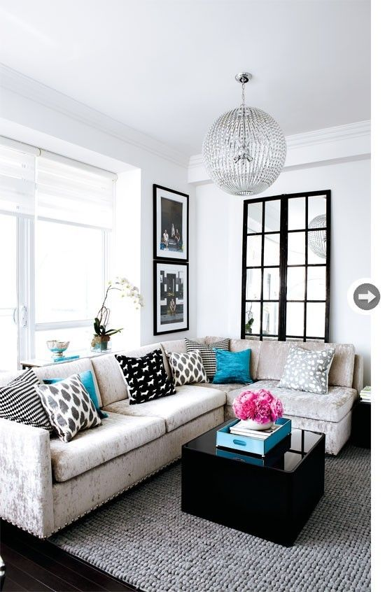Black And White Living Room With Teal interior design: turquoise contemporary condo | grey living rooms