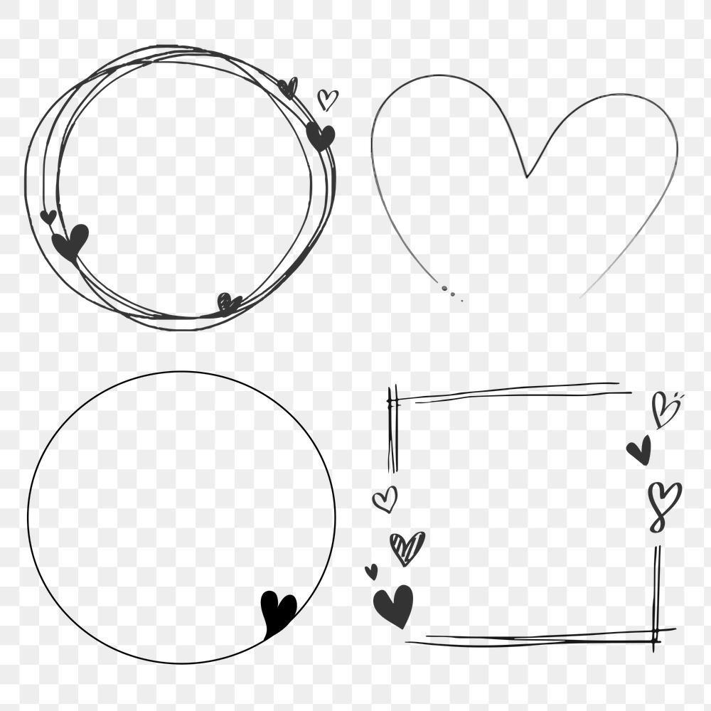 Download Premium Vector Of Doodle Love Frame Collection Vector 2053637 Valentines Frames Love Frames Frame Collection