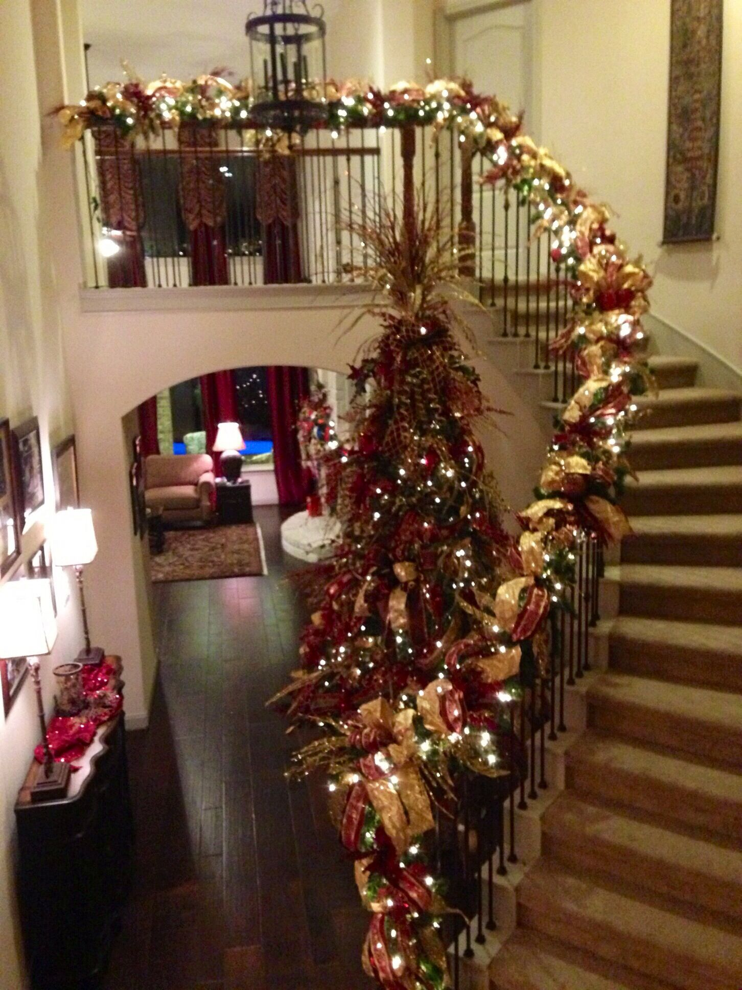 Burgundy, gold and green #Christmas Tree, and #Banister. Beautiful ...