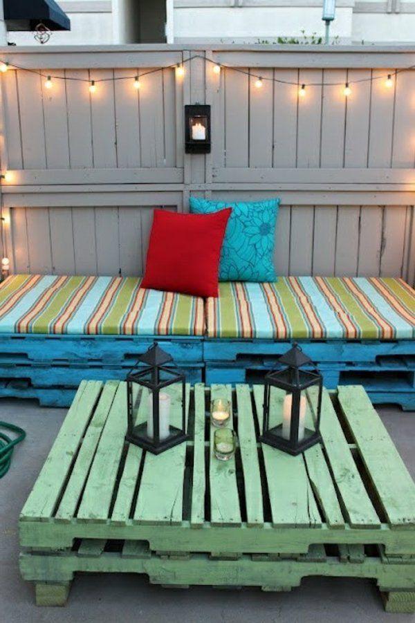 garteneinrichtung mit europalette möbeln dekokissen positive ... - Ideen Terrasse Outdoor Mobeln