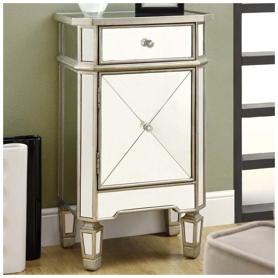 Mirrored Nightstand Cabinet Side End Table Accent Glam Bedroom Furniture Chest  #Monarch #Modern