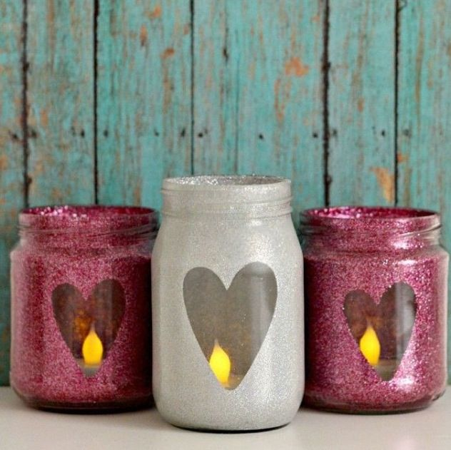 You'll need:                    How to make:                     Jars.                                Get your jars and  Fake candle                Paint them. Then cut Glitter paint/paint.      Out a love heart with  Paper.                         Paper and glue it on.                                 (Non permanent glue) then paint the whole jar, take the lover jape art paper off, put a candle In and Done!! How easy was that??!!