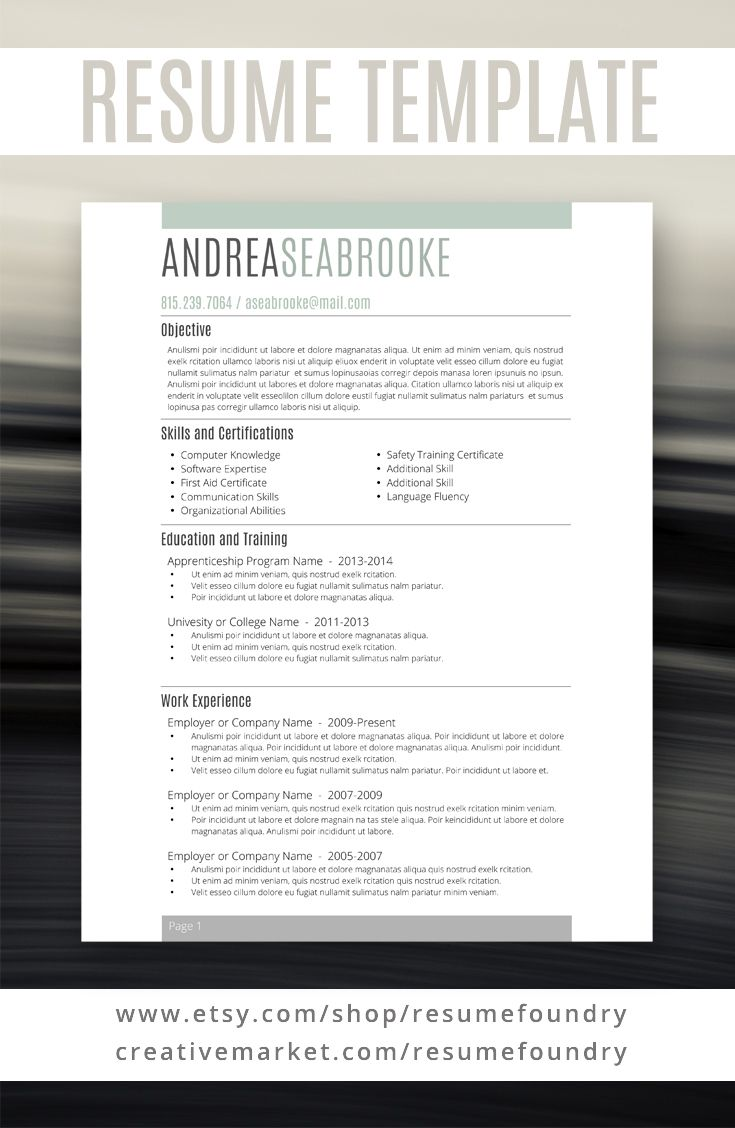 Simple, stylish resume template. Instant download, use with ...