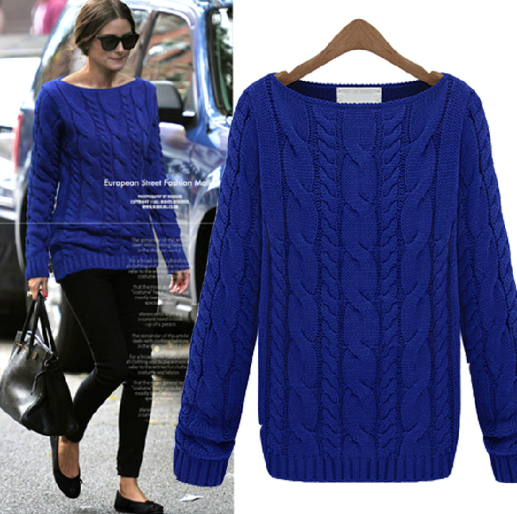 Royal Blue Bateau Neck Cable Knit Sweater | Fashion style ...