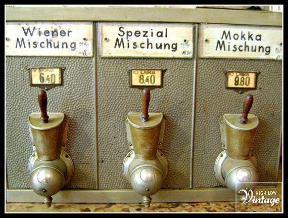 Vintage Austrian Coffee Bean Silo And Dispenser C 1920 Etsy Coffee Beans Coffee Names Coffee
