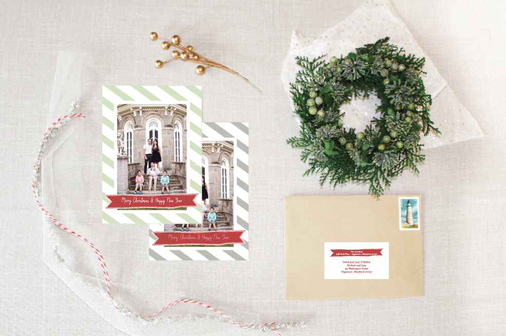 striped banner :: holiday photo cards by little bit heart #holidaycards #holiday #christmascards