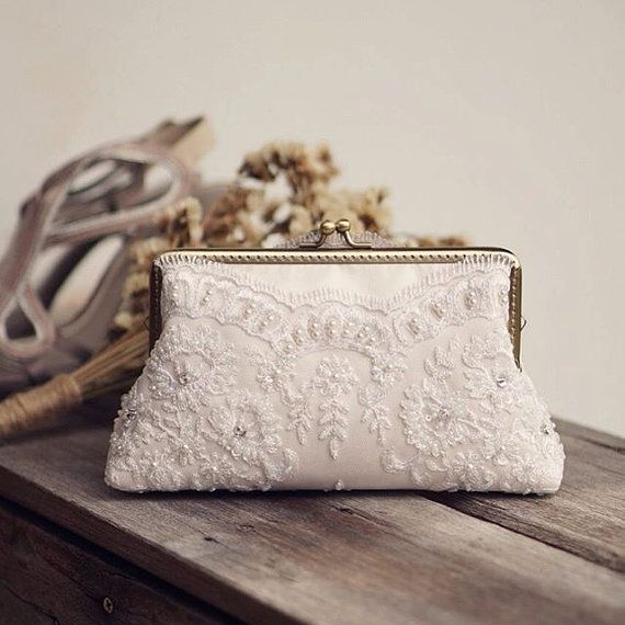 Ivory Lace Bridesmaid Clutch Handmade Wedding Lace Clutch Bridal Party Gift 7-inch Frame