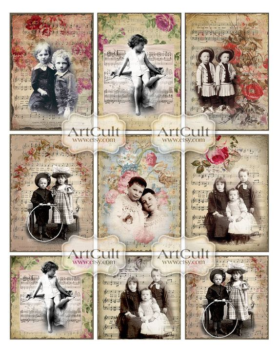 KIDS OF YESTERYEAR   Digital Collage Sheet  Gift Tags by ArtCult, $4.60