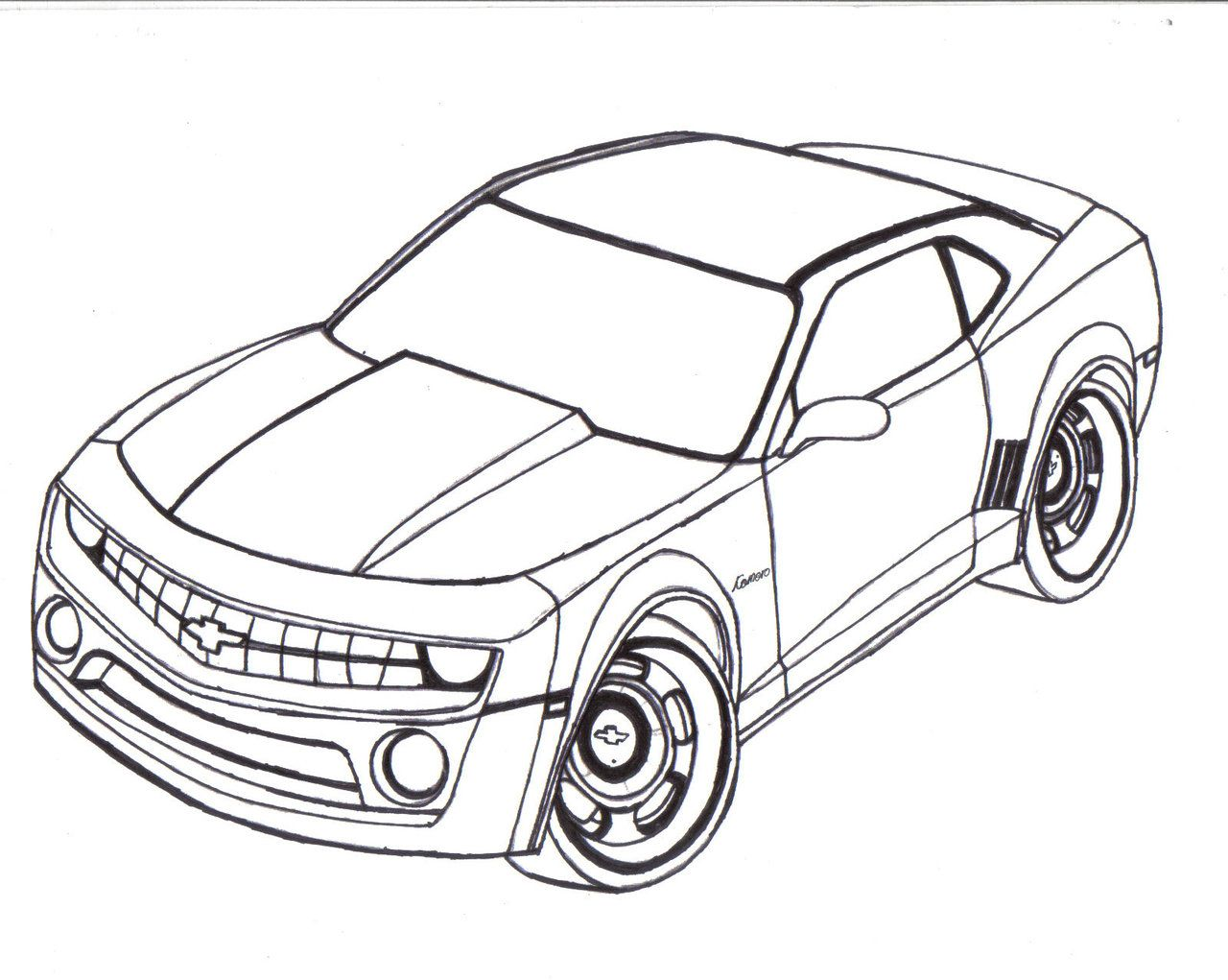 camaro black and white drawing