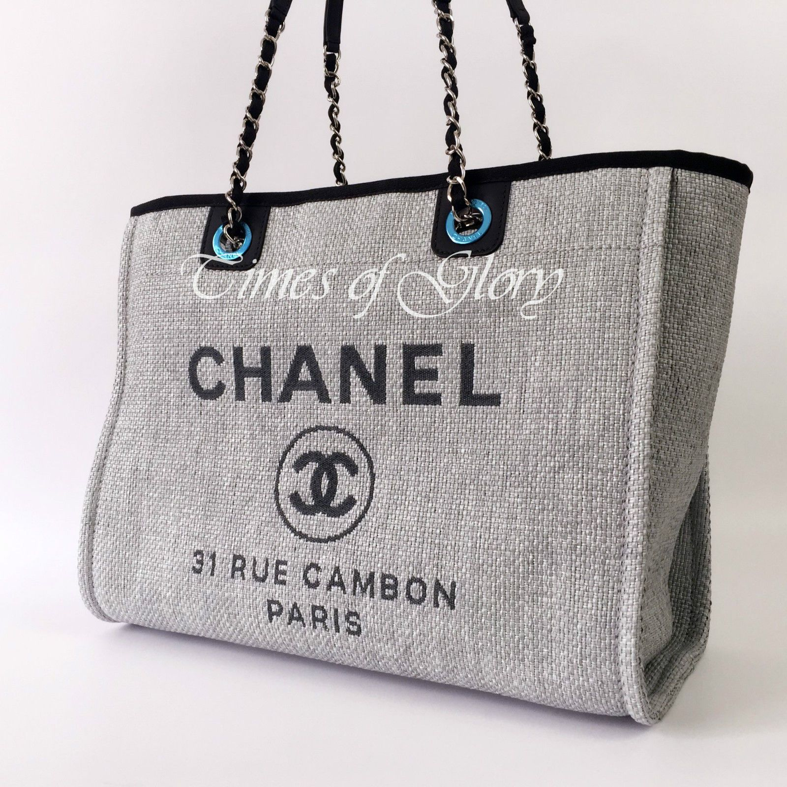 details about new chanel deauville grey canvas black trim grand shopper large tote bag - Large Tote Bags