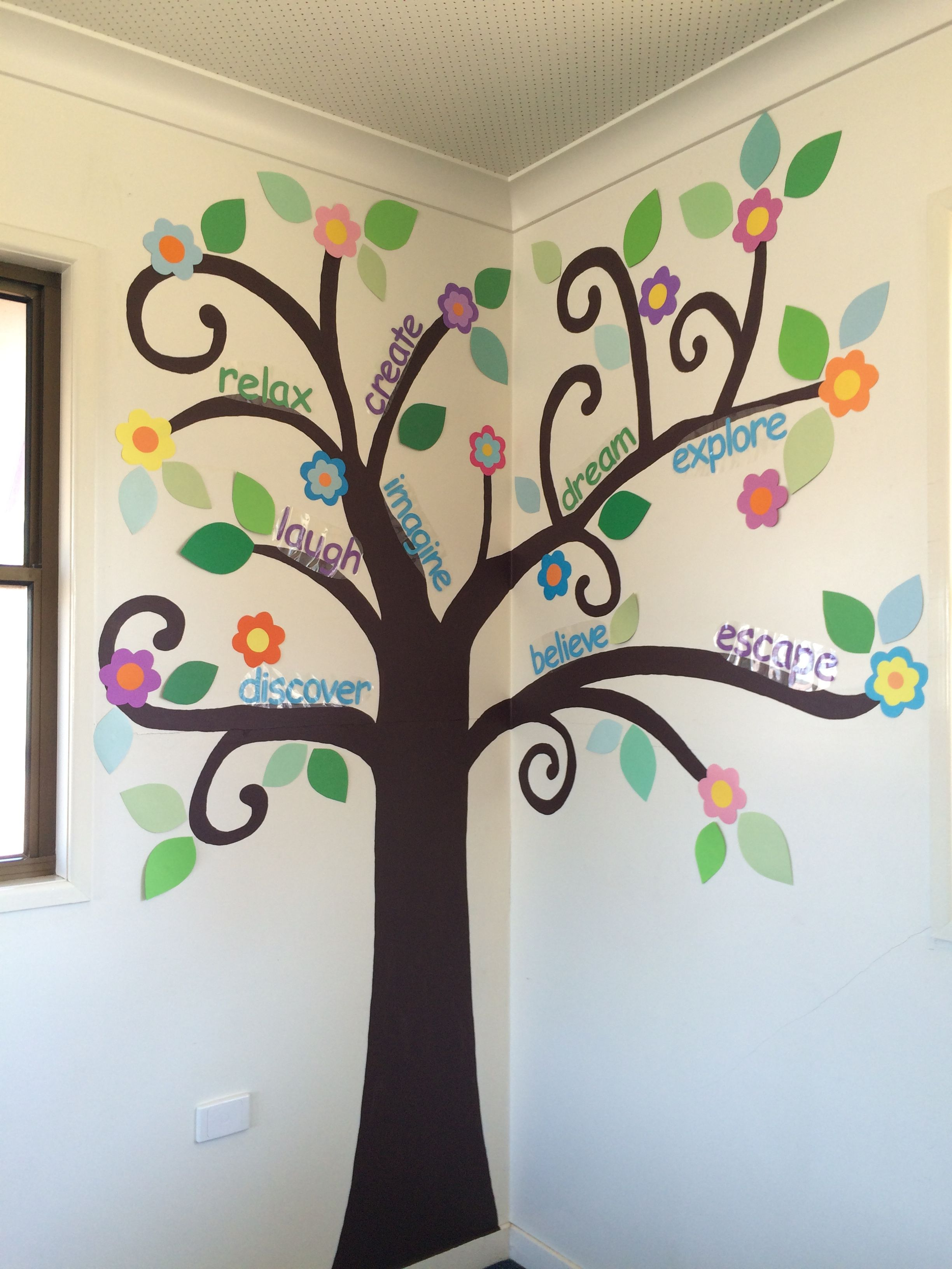 tree wall art I painted in a classroom. Paint the trunk and branches on the wall. Add paper leaves and flowers. Words to do with reading. & tree wall art I painted in a classroom. Paint the trunk and branches ...