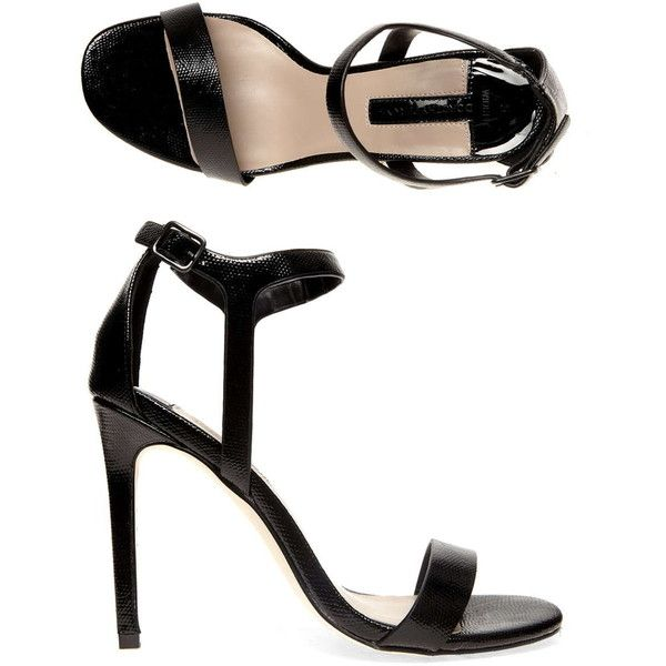 Dorothy Perkins Wide fit black minimal high sandals (€44) ❤ liked on Polyvore
