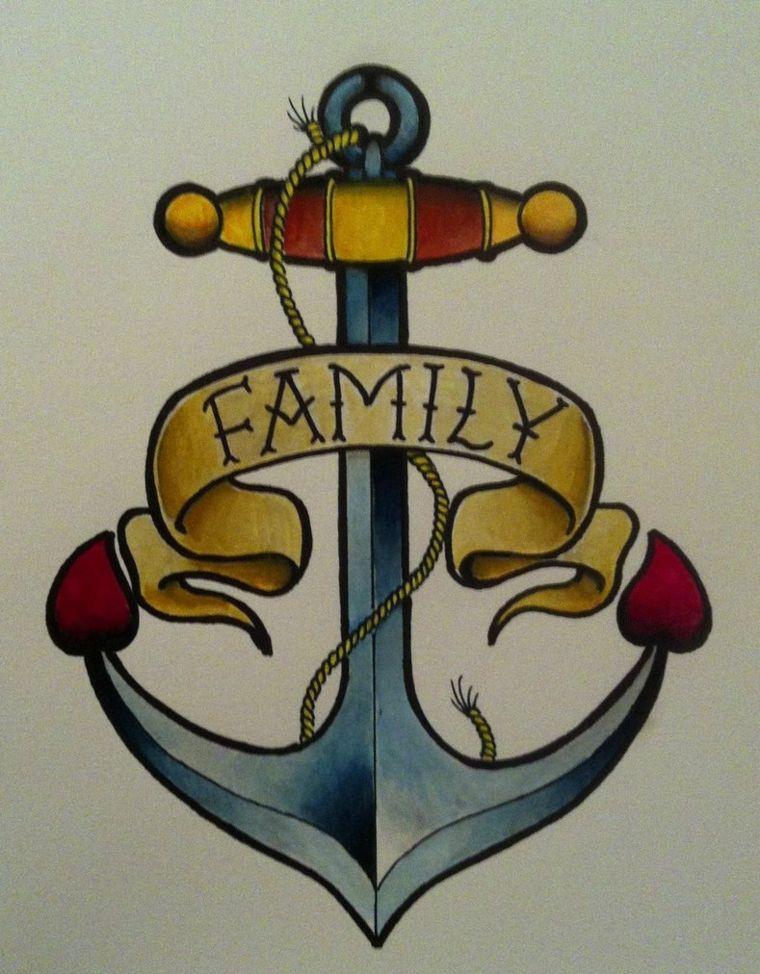 tattoo old school disegni, un\u0027ancora con una pergamena con la scritta family