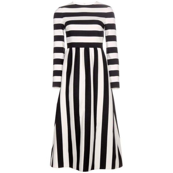 Valentino Striped Wool and Silk-Blend Dress (€2.695) ❤ liked on Polyvore featuring dresses, valentino, vestidos, black, woolen dress, striped dress, stripe dress, wool dress and valentino dresses