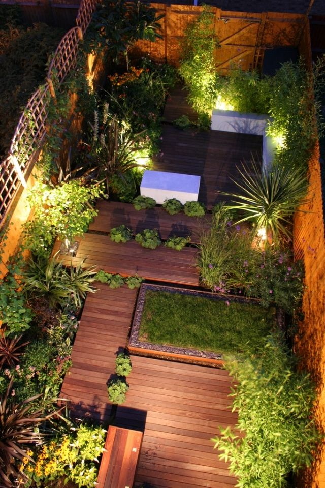 Holz-deck terrasse Begrünung Beleuchtung-städtisches Gartendesign ...