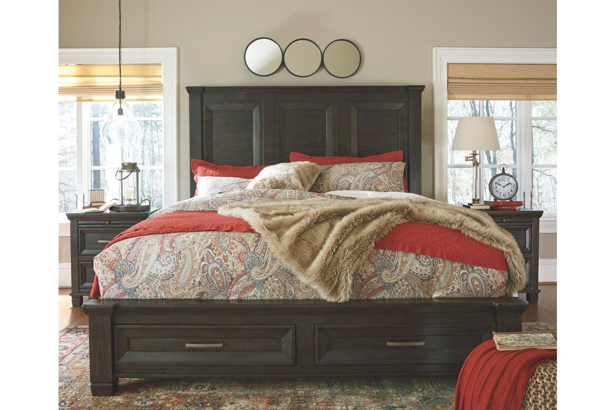 Townser Queen Panel Bed With Storage Ashley Furniture Homestore With Images Brown Bed