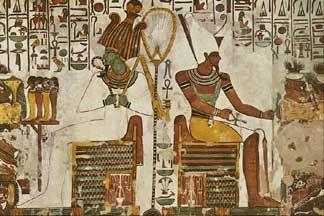 Osiris and Atum Wall Painting, Tomb of Queen Neferiari ...