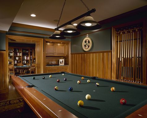 Custom Made Natural Mahogany Billiard Room Pool Table Room