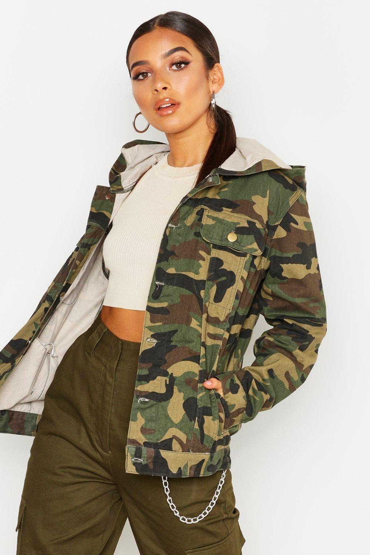 Hooded Oversized Camo Denim Jacket Camo Jacket Women Jacket Outfit Women Camoflauge Jacket [ 1500 x 1000 Pixel ]