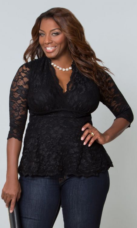 Linden Lace Top Black | Ecstasy Models Plus Size Fashion ...
