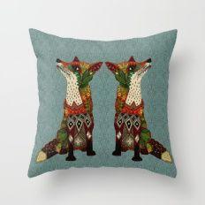Throw Pillow featuring Fox Love Juniper by Sharon Turner