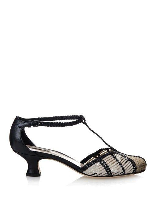 c636eedc75f Bottega Veneta Prusse Stuoia leather kitten-heel sandals