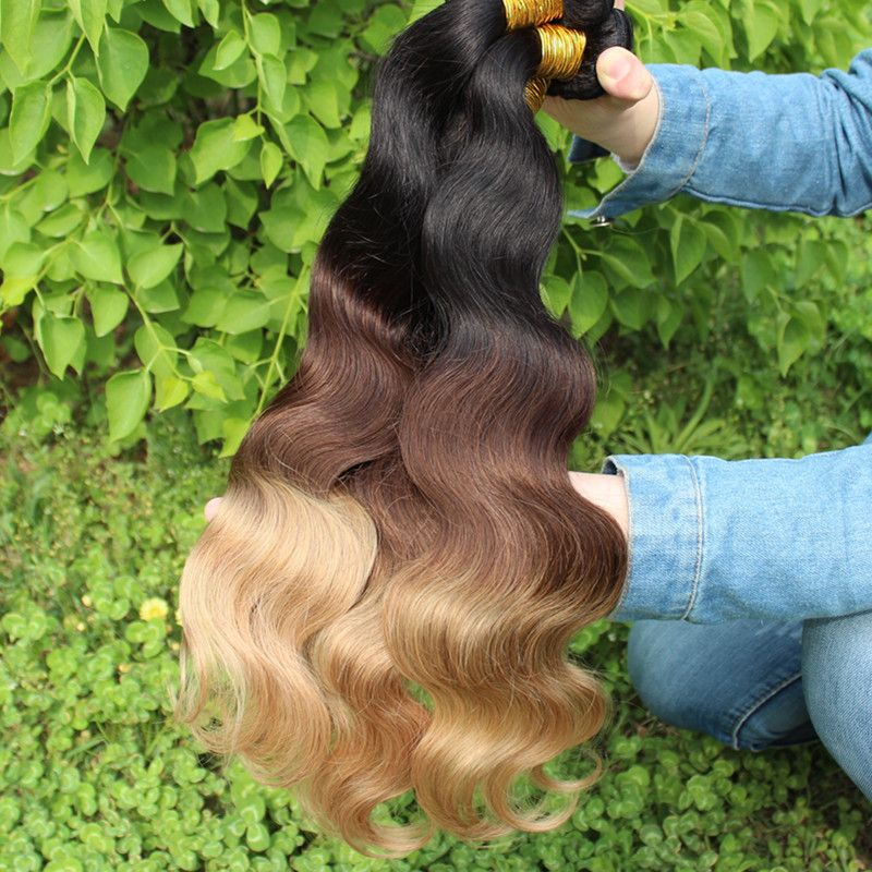 5A 1b/4/27 three tone color malaysian virgin hair body