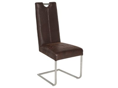 CONFORAMA CHAISE u0027u0027QUEBECu0027u0027 - en imitation cuir brun vieilli CHF - conforama chaises salle a manger