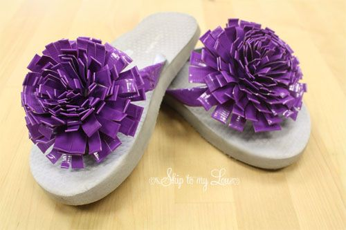 Duct tape flower flip flop tutorial from Skip to My Lou