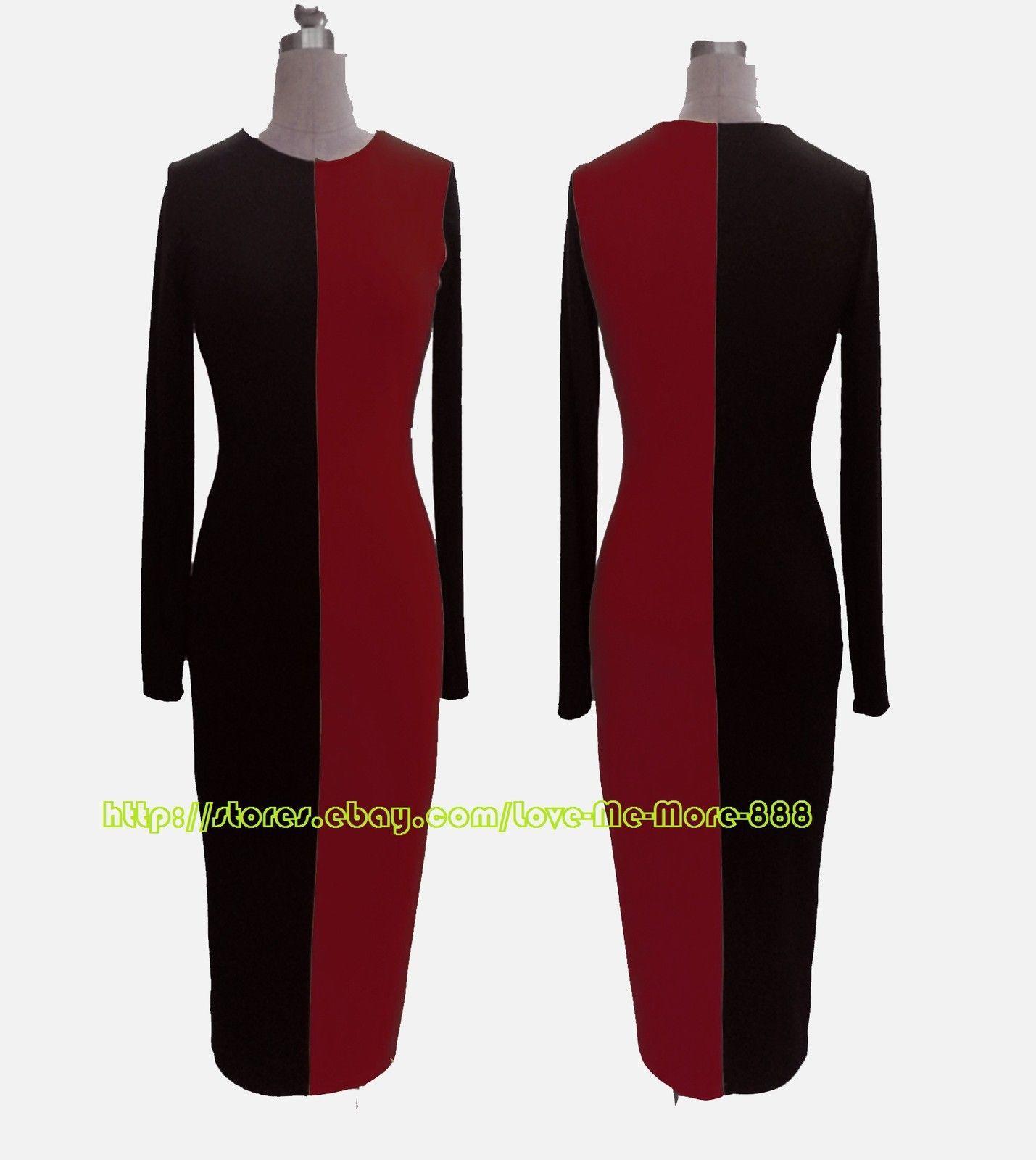 Sxl womens long sleeve colour block wiggle pencil casual fit