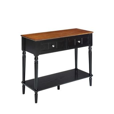 Convenience Concepts French Country Dark Walnut And Black 2 Drawer