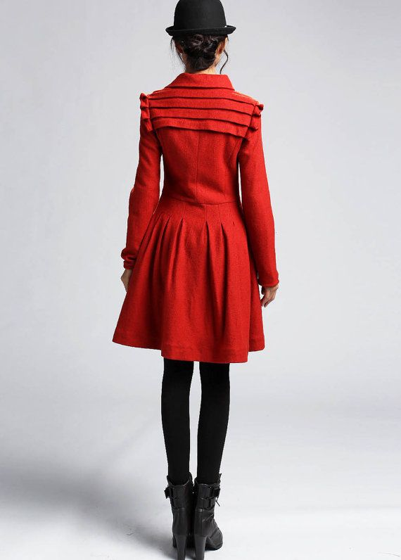 Knee-Length Asymmetrical Skirt - Fall Winter Wool Black Pleated Mini with Irregular  Hemline (1068)
