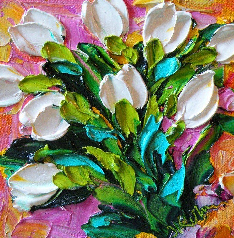 Cuadros de flores con relieve pinturas de flores con - Cuadros con relieve modernos ...