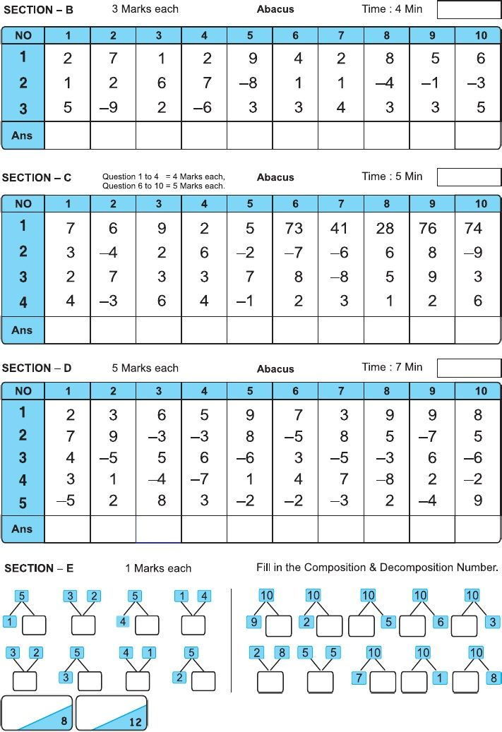 Indian Abacus 1st level model question paper staters ...