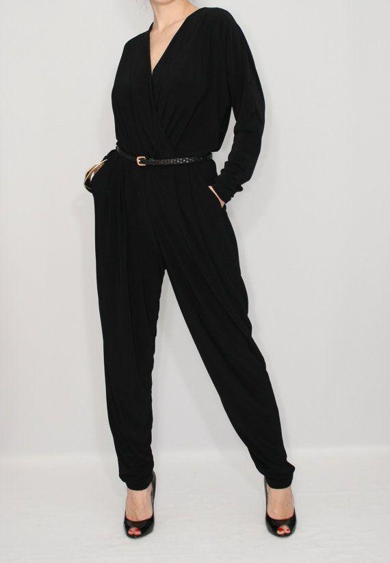 54d73898ff1 Black jumpsuit Long sleeve jumpsuit Batwing jumpsuit by dresslike Batwing  Top
