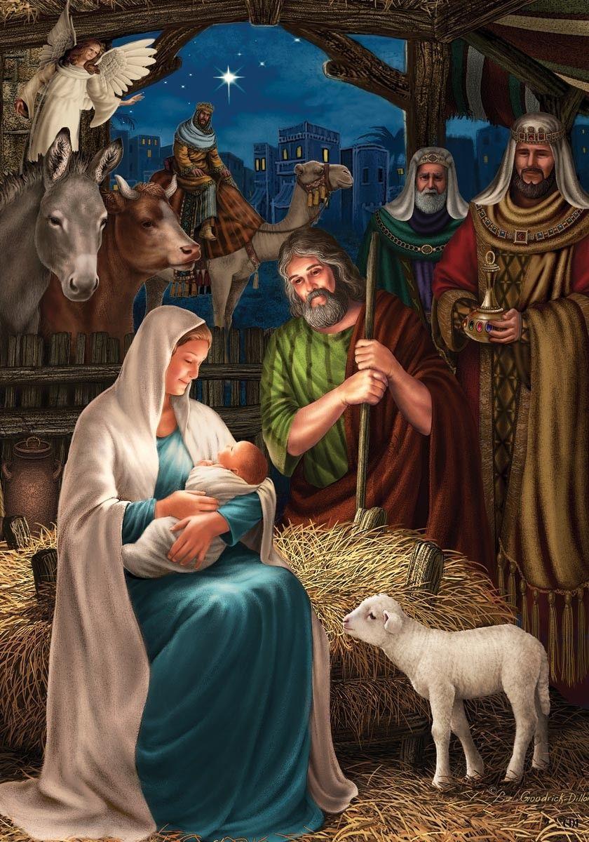 Nativity Scene Outdoor Flag , 1722 CDC Lang Christmas