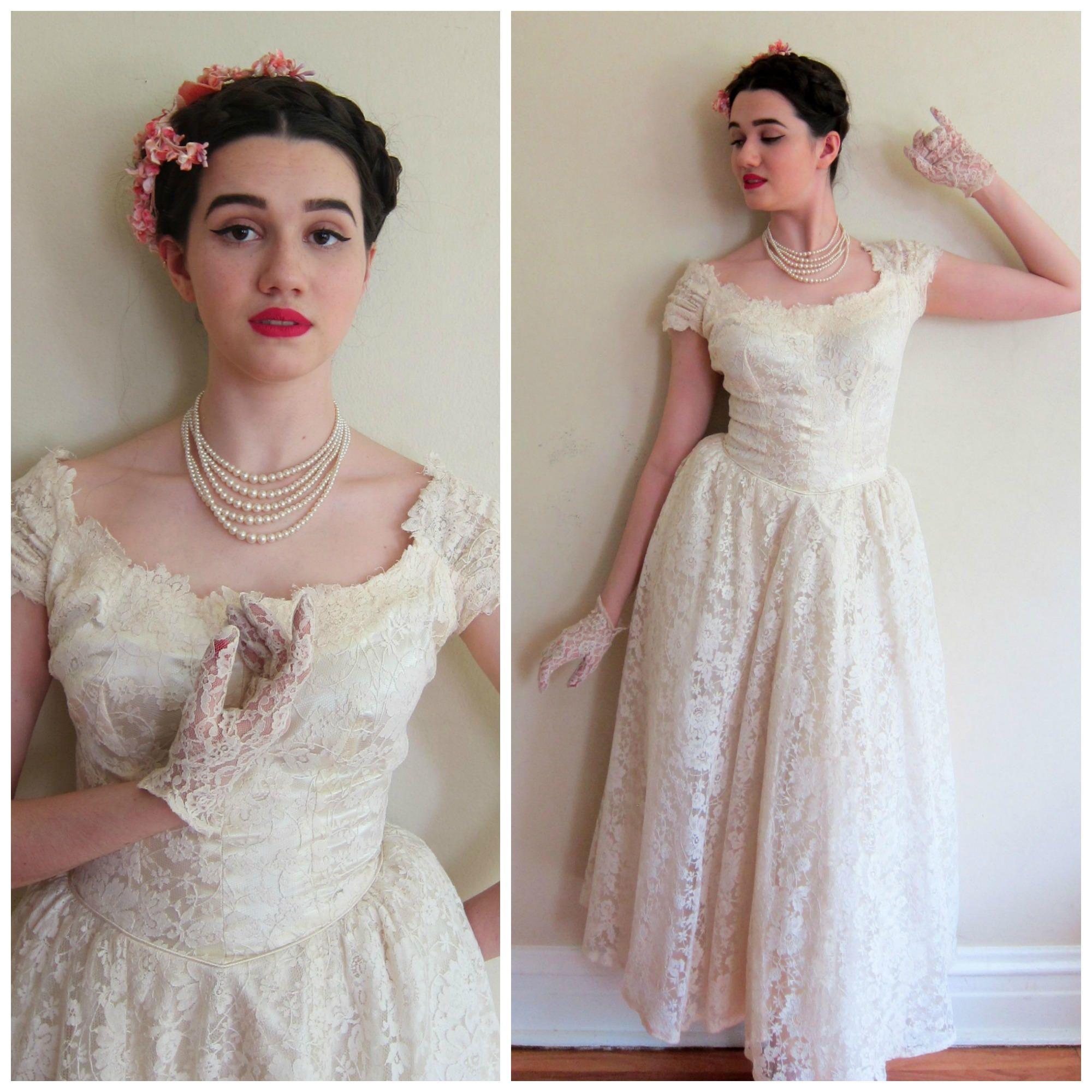 RESERVED Vintage 1950s Wedding Dress Priscilla of Boston