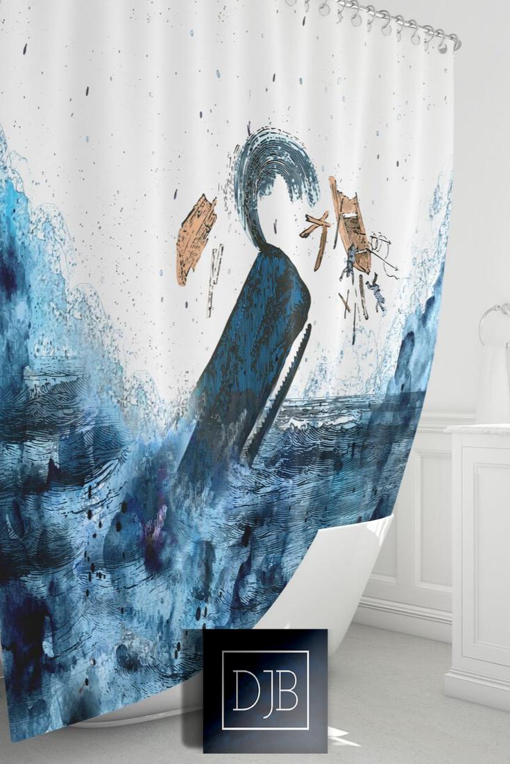Nautical Whale Shower Curtain Cool Blue Ocean Decor Coastal