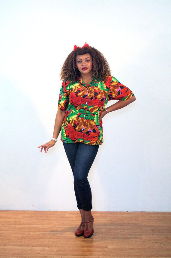 e4074568 Evita, 90s Hawaiian Shirt L XL, Bright Tropical Shirt, Hawaiian Silk Blouse,  Silk Vacation Shirt, Vintage Aloha Shirt, Silk Hawaiian Blouse