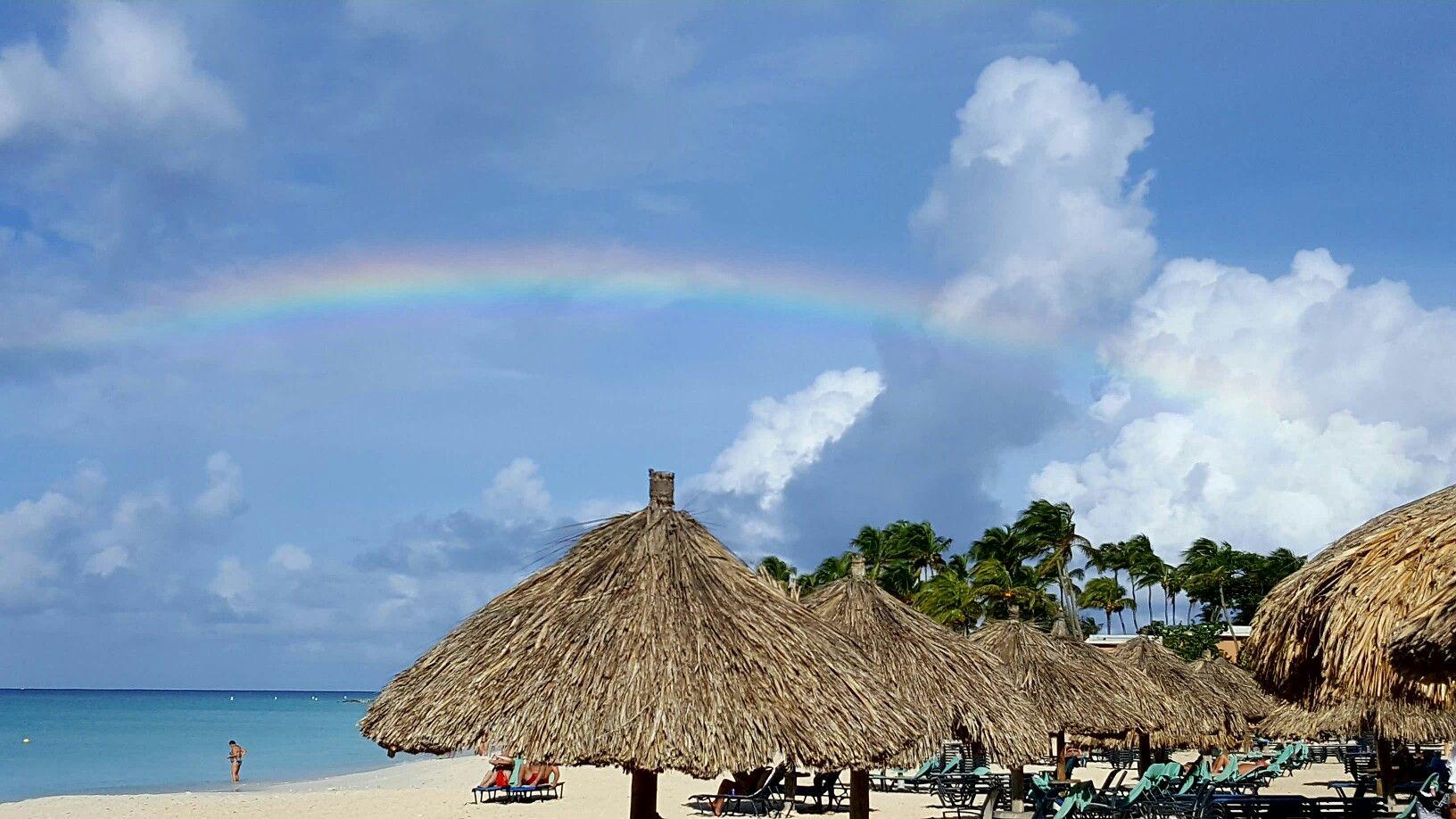 Rainbow over Eagle beach.