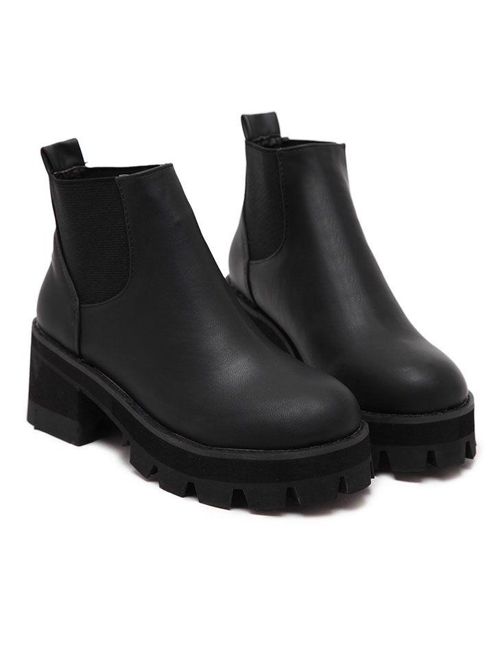 Black Chunky Block Heel Velvet Elastic Ankle Boots 38.80 | 2.0 ...