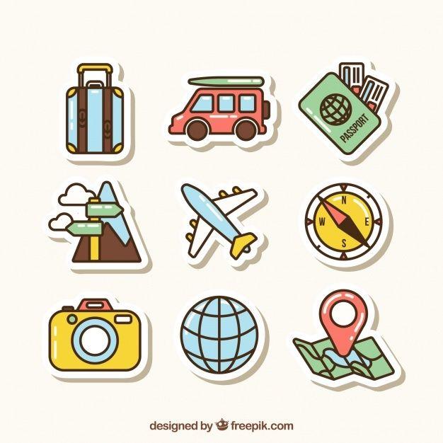 Colección de elementos de viaje con dise... | Free Vector #Freepik #freevector #coche #viajes #diseno #mapa