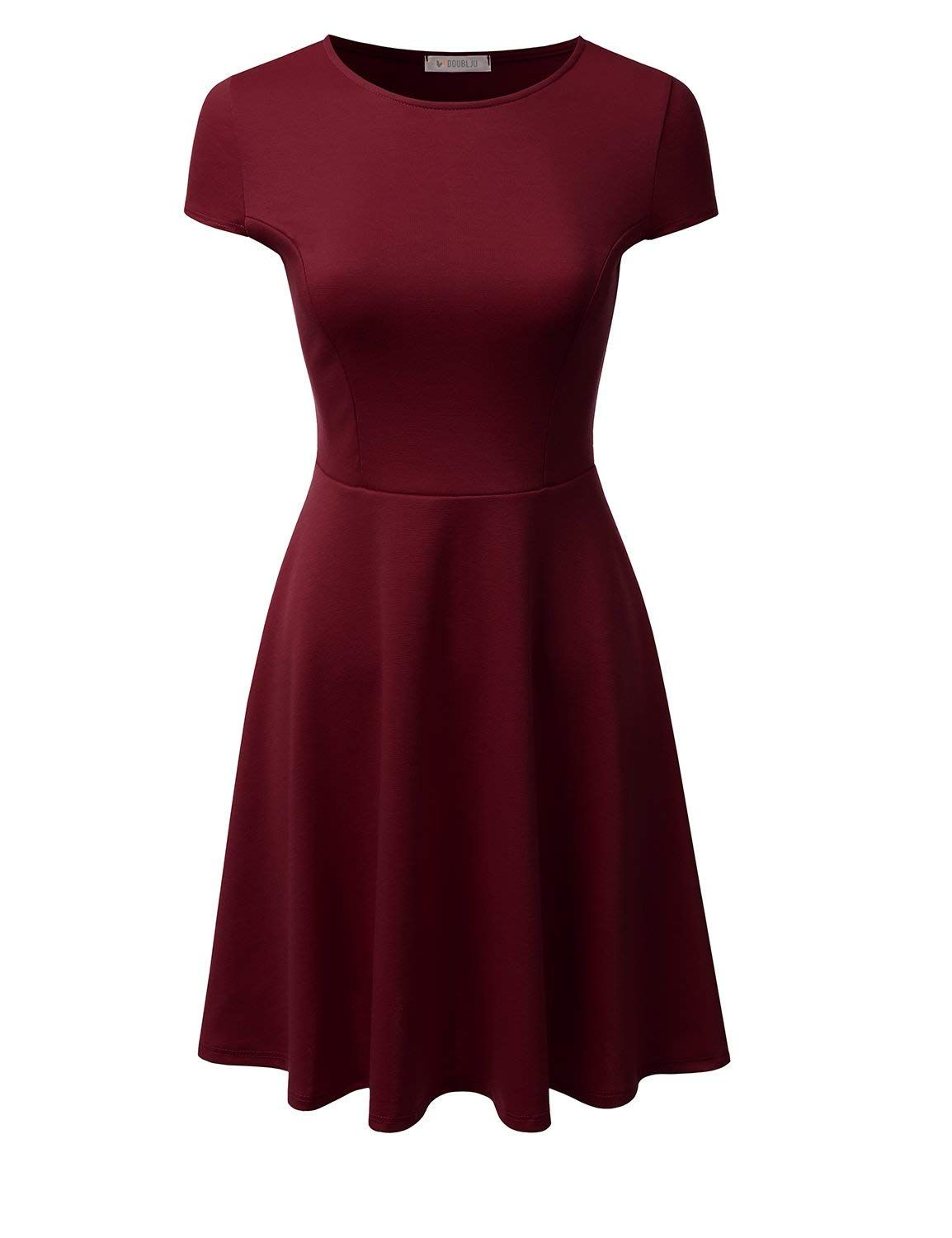 aa001fef33c9 Doublju Stretchy Flared Midi Skater Dress for Women with Plus Size (Made in  USA) at Amazon Women s Clothing store