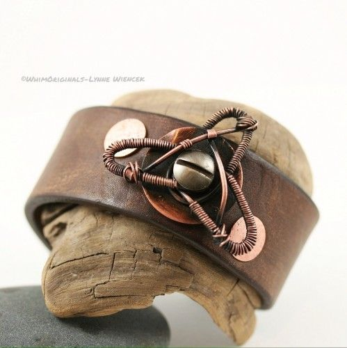 This Uni Leather And Copper Wire Wred Cuff Bracelet Is Strong Bold The Center Geometric Design Has No Specific Meaning It Just How