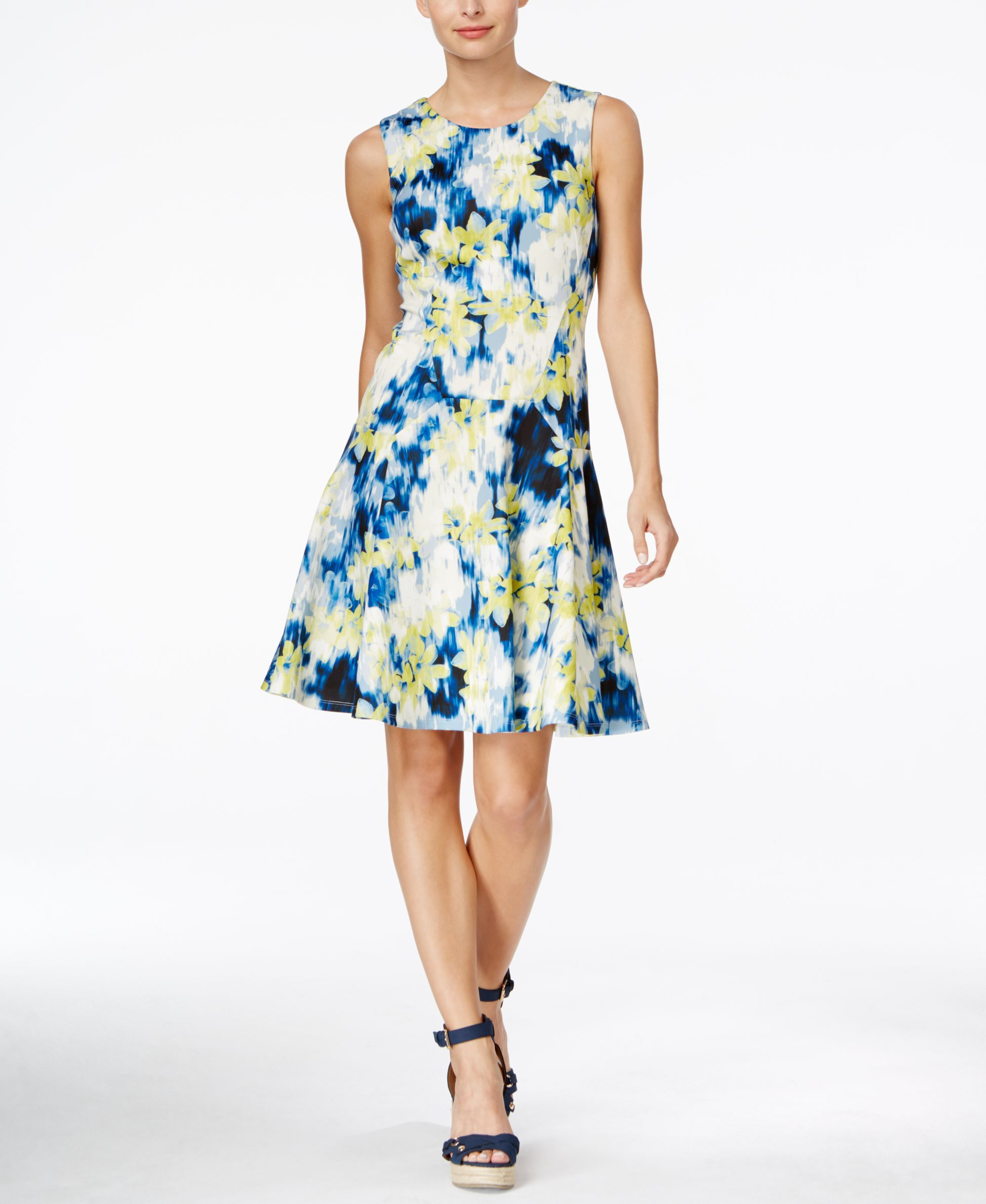 d4ac66d4b18 Tommy Hilfiger Sleeveless Floral-Prin Fit & Flare Dress | Products ...