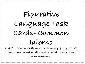 Finally, task cards that focus on the meaning of common
