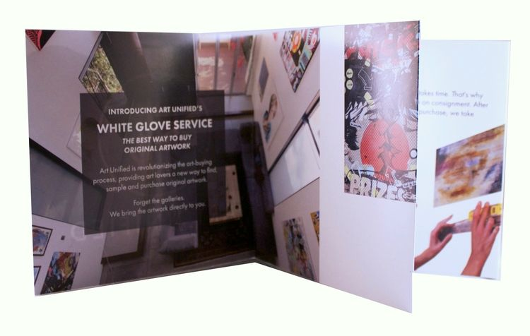 double sided quad fold brochure for art unified graphicdesign
